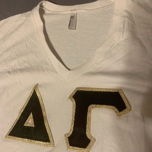 White Delta Gamma Short Sleeve Letters Size M